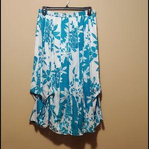 Kaktus Scrunched Hem Skirt Size XL Blue Teal White